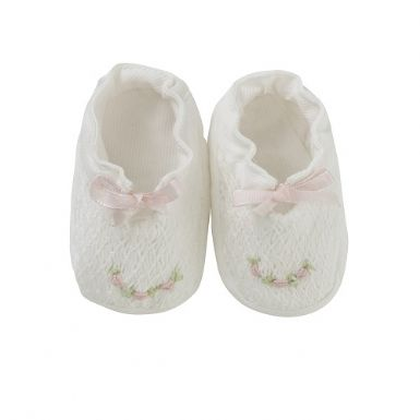 Flower Hand Smocked Booties | Patrizia Wigan Designs